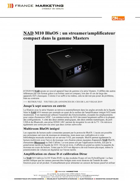 NAD - M10 BluOs - MASTER - On Mag.fr/2019